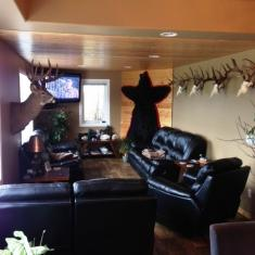 TV Room  with more deer mounts